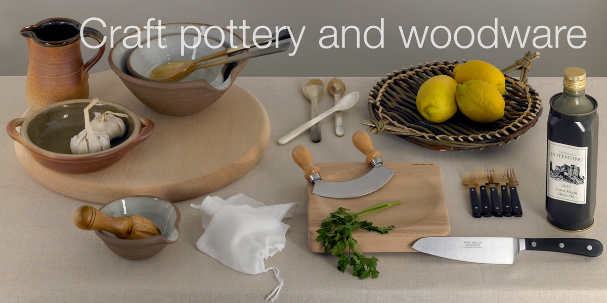 Craft pottery and woodware