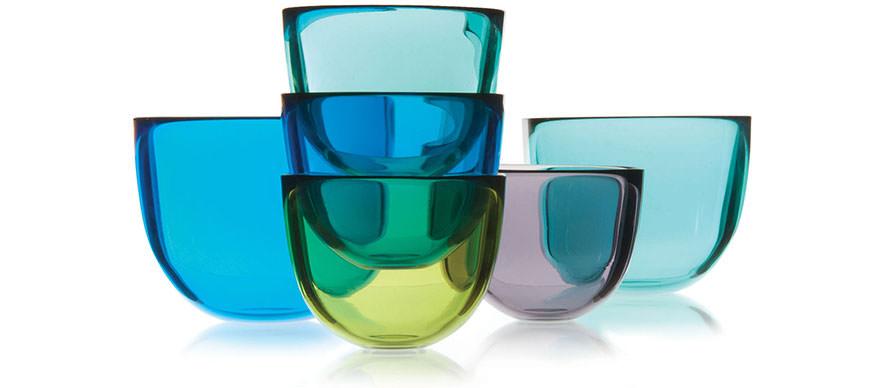David Mellor coloured glass bowls