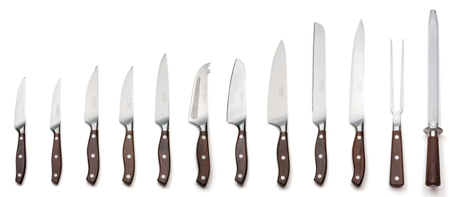 Rosewood handle kitchen knives