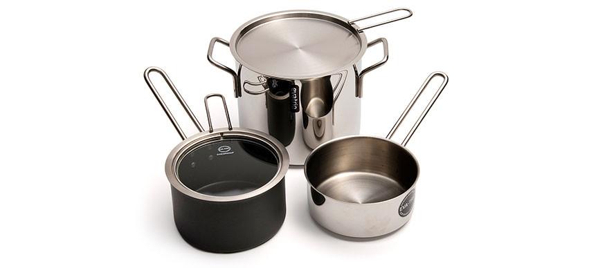 Eva Trio stainless steel and non-stick aluminium
